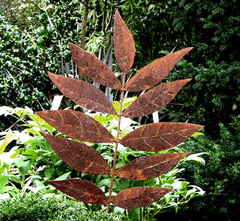 Picture of mild steel Rowan Leaf sculpture